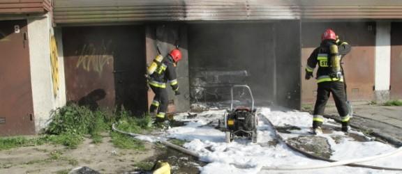 Pożar garażu na Malborskiej. Ranna jedna osoba