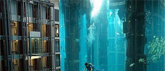Gigantyczne akwarium wewnątrz hotelu