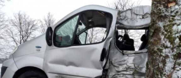 Kierowca Renault Trafic  uderzył w drzewo